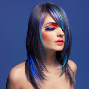 lady with mult-coloured hair